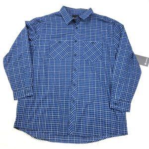 NWT AKADEMIKS $85 Blue Plaid Big Men Shirt 4XL